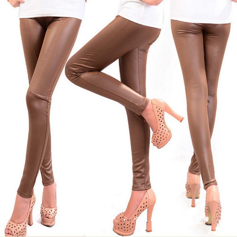 New Sexy Fashion  Autumn Winter Faux Leather Leggings For Women Lady Leggins Pants 852111