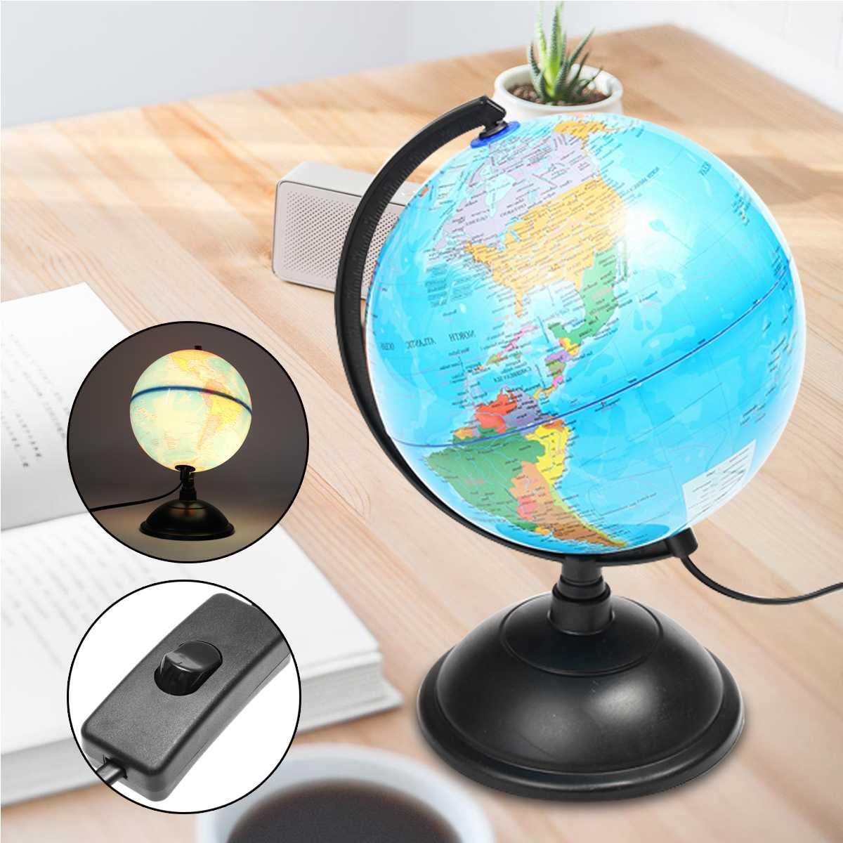 20cm Electric LED Light World Globe Earth Map Teach Education Geography Toy Terrestrial Tellurion Globe Home Office Desk Decor