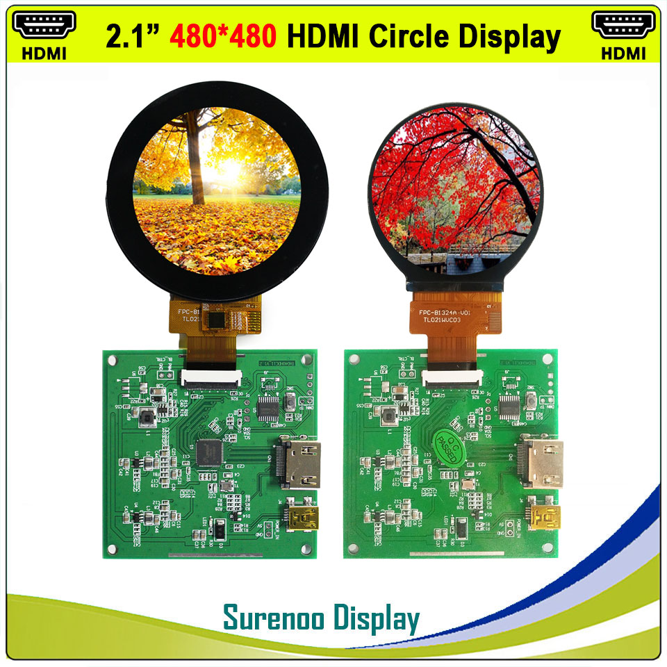 "2.1"" 480X480 Round Circle HDMI to MIPI IPS LCD Module Monitor Screen with USB Capacitive Touch Panel(China)"