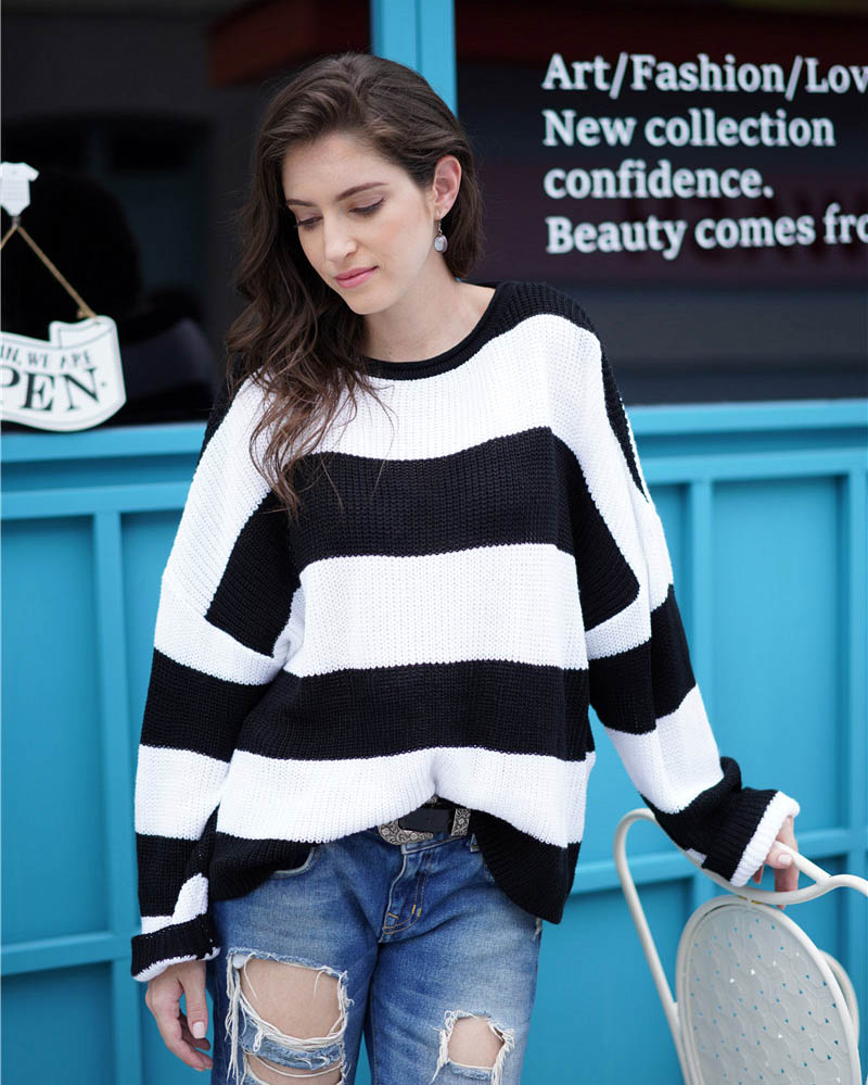 Fitshinling Striped Loose Ladies Sweater Pullover 19 Autumn Winter New Arrival Green Jumpers Knit Sweaters Women Pull Femme 8