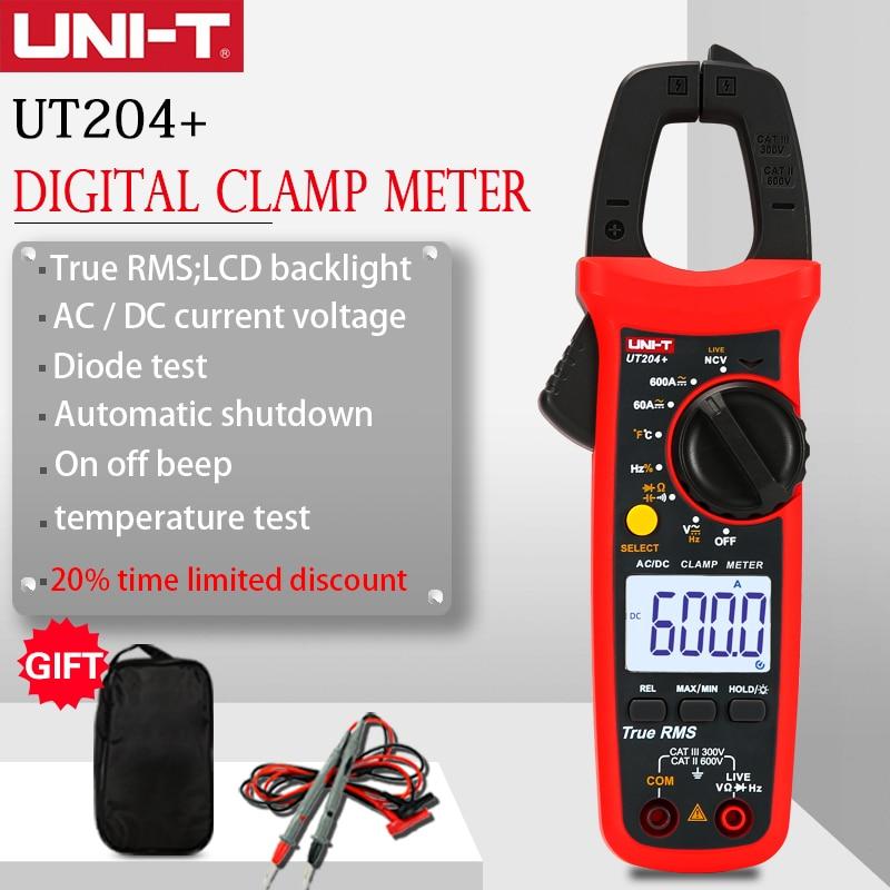 UNI-T ut204 + серии True RMS Цифровые токоизмерительные клещи переменного тока/DC AC DC зажим амперметры температуры постоянной ёмкости, универсальный ...