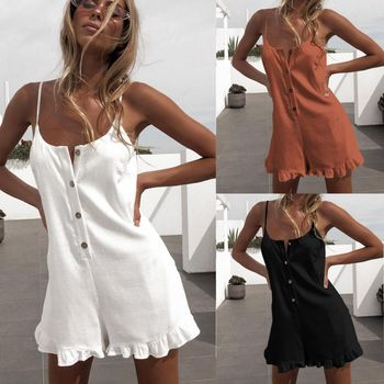 2019 Sexy Sleeveless Button Ruffled Off Shoulder Halter Women Playsuit Romper