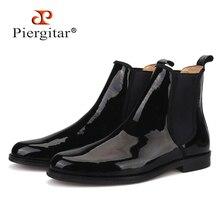 Piergitar 2019 Anh Màu Đen cổ điển Bằng Sáng Chế da Nam Chelsea Boots Mùa Đông phong cách thủ công nam giày Plus kích thước