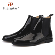 Piergitar 2019 Britse klassieke Zwart lakleer Mannen Chelsea Laarzen Winter stijl handgemaakte mannen casual laarzen plus size