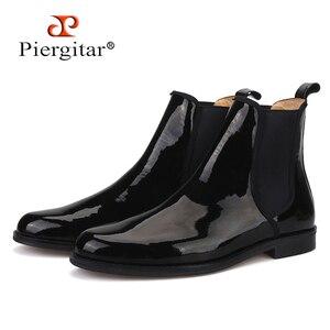 Image 1 - Pierguitar bottes en cuir verni noir pour hommes, classique britannique, Chelsea, style hiver, fait à la main, grande taille, 2019