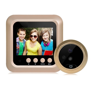 W5 Home Security HD Digital Doorbell Video Camera PIR Night Vision 160 Wide Angle LCD Photo Video Recording Door Peephole Golden(China)