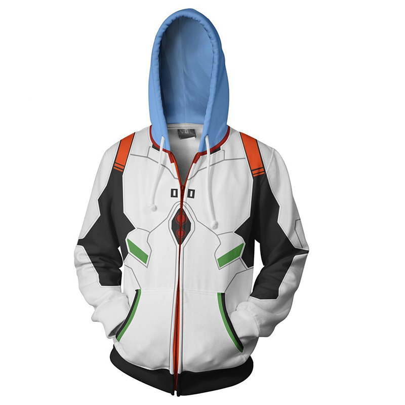 Image 2 - Anime Neon Genesis Evangelion EVA Ayanami Rei Cosplay Costume Zipper Hoodies Sweatshirt Casual Fashion Jacket For Men WomenAnime Costumes   -