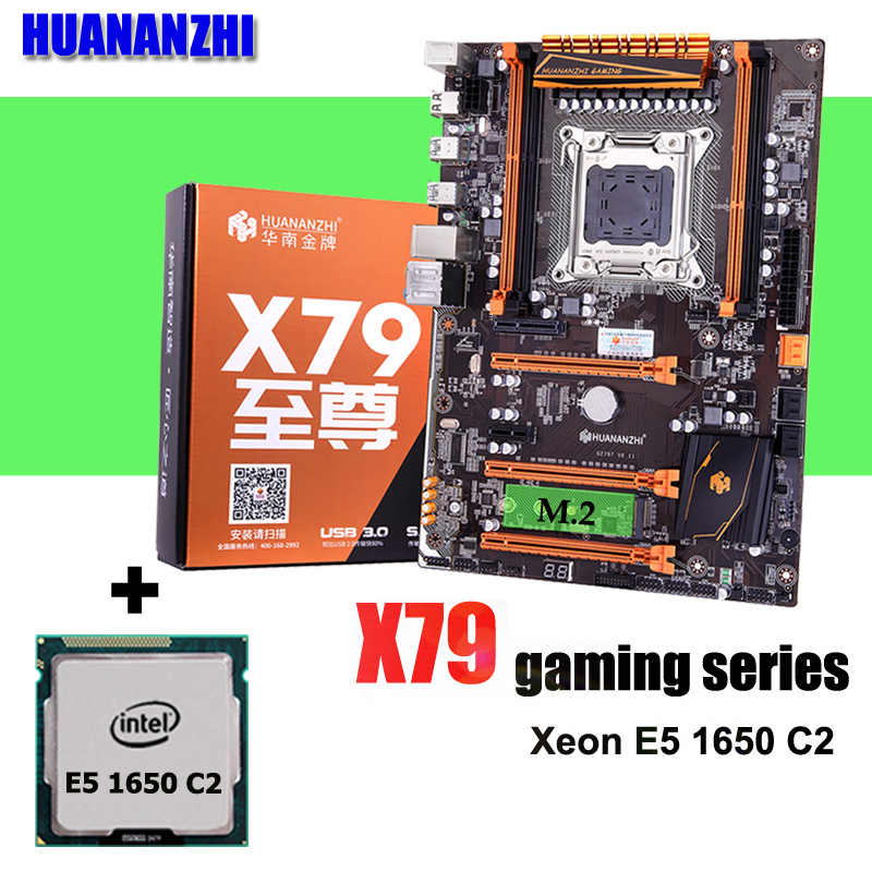 لوحة ألعاب HUANANZHI Deluxe X79 LGA2011 معالج وحدة المعالجة المركزية Xeon E5 1650 C2 3.2GHz تم اختبارها ومعبأة بشكل جيد