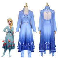 Snow Queen Elsa Anna Adult Dress Cosplay Costume Adult Female Girl Fantasy Blue Diamond Halloween Carnival Cosplay Set