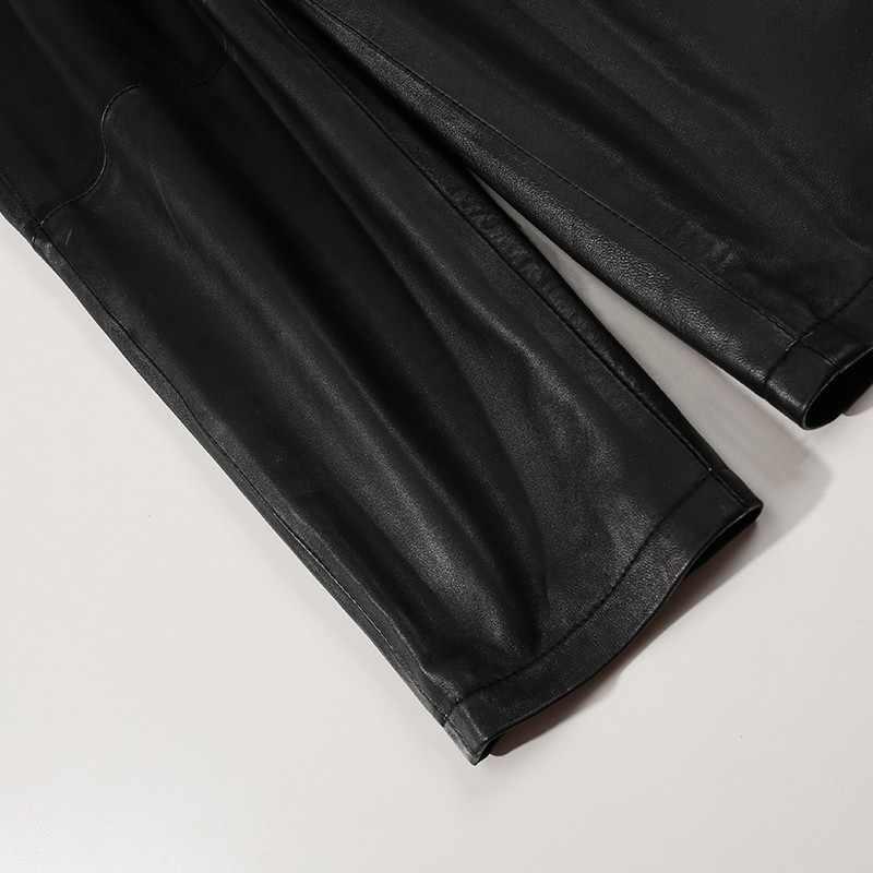Pantalones de mujer de cuero de oveja negro elástico tamaño 2020 invierno nueva moda de cuero de tamaño real de las mujeres de longitud completa Harem Pantalones