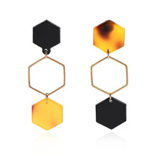 NJ Geometric Fashion Drop Earrings For Woman Girls Acrylic Ladies Black Wedding Party Jewelry Gift