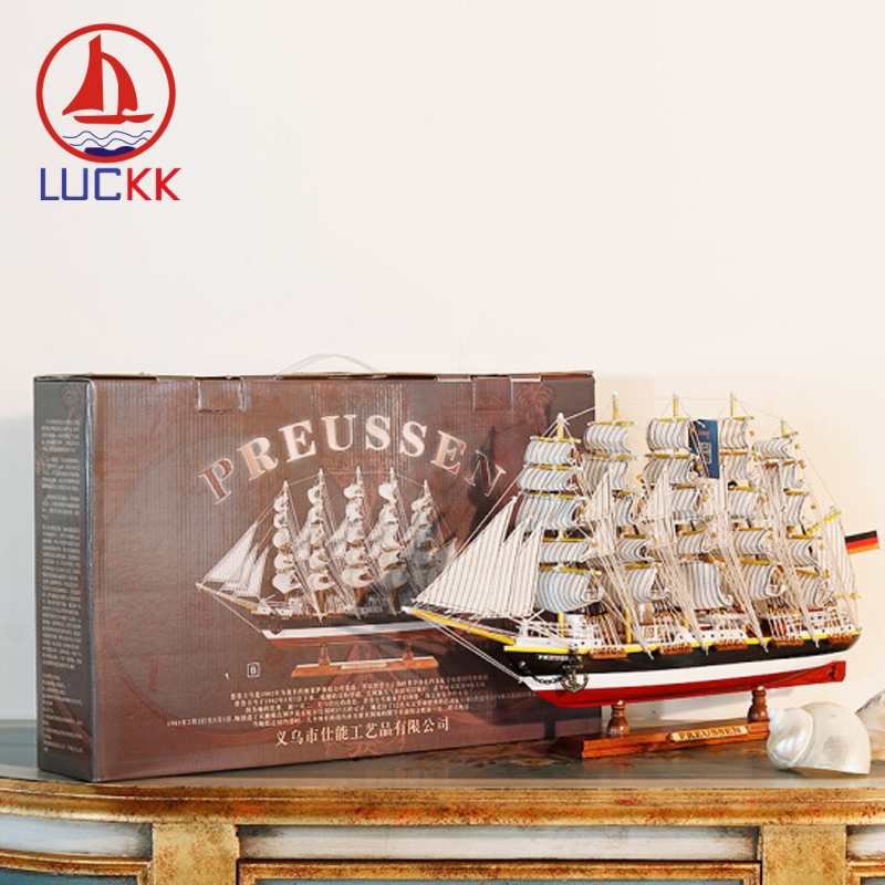 LUCKK 50CM Luxury Wooden Ships Model Home Office Interior Decor Nautical Retro Handicraft Miniature Sailboat Top Gifts Ornaments in Figurines Miniatures from Home Garden