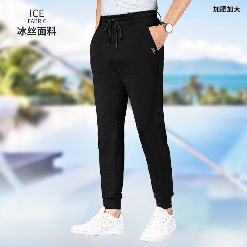 Summer new pants men's fattening and fat men's loose and thin casual pants fat men's drawstring pants