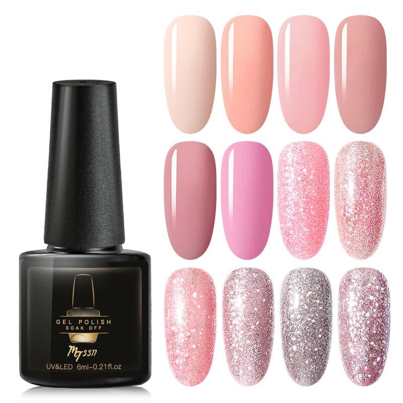 Mtssii 6ml UV Gel Nail Polish Rose Gold Glitter Sequins Soak Off UV Gel Varnish Color Nail Gel Polish DIY Nail Art Lacquer
