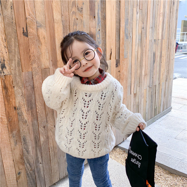 Toddler Girls Pullover Sweater 2019 Fall/Winter New Korean Boys and Girls Hollow Knitted Wool Sweater Jacket Children Clothes
