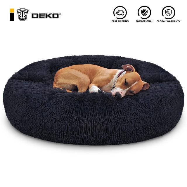 DEKO Super Soft Pet Dog Beds Kennel Round Cushion Fluffy Cat House Warm Comfortable Sleeping Mat Sofa Washable Puppy Supplies 1