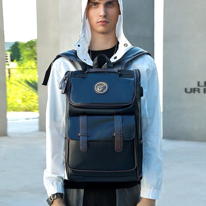 LIELANG Backpack Men Leather School Backpack Bag For College Simple Design Men Casual