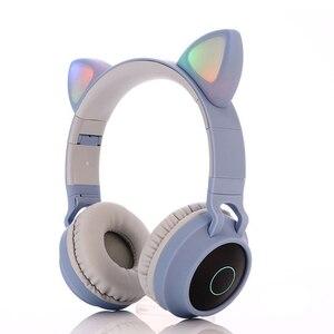 Image 4 - Pembe sevimli kedi kulak Bluetooth 5.0 kablosuz kızlar kulaklık 3 renk yanıp sönen parlayan Stereo mikrofonlu kulaklık desteği TF kart