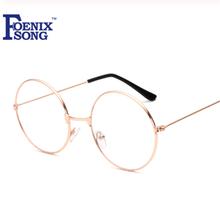 FOENIXSONG okrągłe okulary do czytania mężczyźni kobiety Oculos De Grau Unisex nowe zabytkowe okulary z przezroczystymi szkłami czytnik okulary HH1862 tanie tanio Jasne Antyrefleksyjną Glasses 5 2inchinch Poliwęglan Z tworzywa sztucznego EN-HH1862 Metal Plastic Black Gold Silver Copper Gun Gray