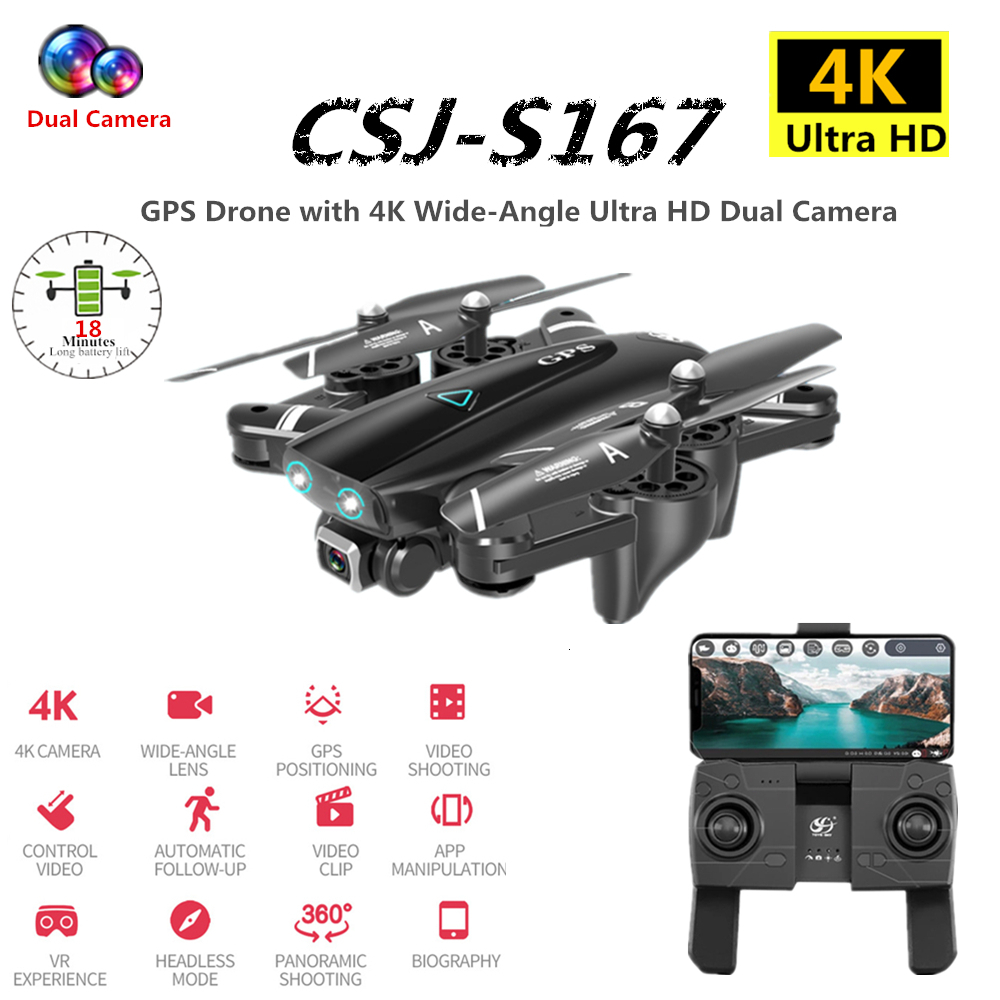 S167 GPS Drone 4K RC Quadcopter With WIFI FPV Camera Foldable Dron Off-Point Flying RC Helicopter Toy VS SG906 F11 E520S XS812