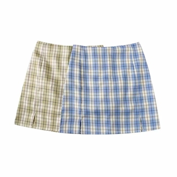 Women Split Details Plaid Mini Skirt with Under Shorts Mini Skort In Check 8