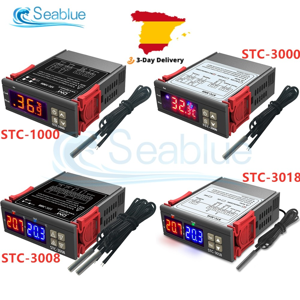 2# STC-3000 110V-220V Touch Digital Temperature Controller Thermostat with Sensor for Farms Greenhouse Refrigeration House Use Jarchii Temperature Controller