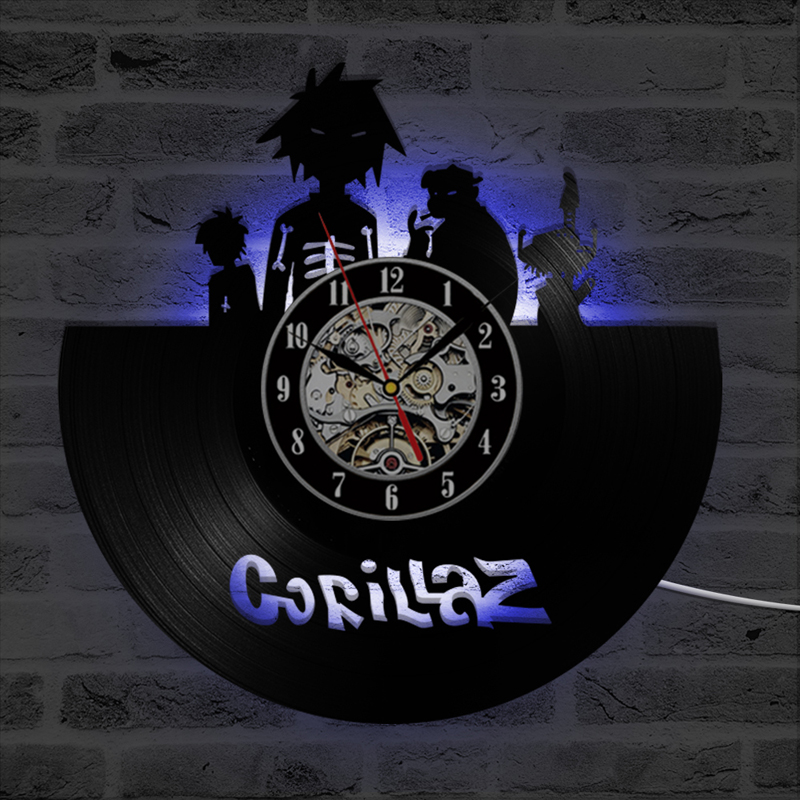 Grocery Gorillaz LED Wall Clock Modern Design Vinyl Record Clock With 7 Colors LED Lighting Cute Cartoon Wall Watch Home Decor