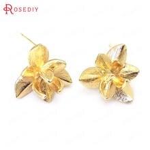 (37604)6 шт 14x13 мм 24k золото цвет латунь цветок форма серьги