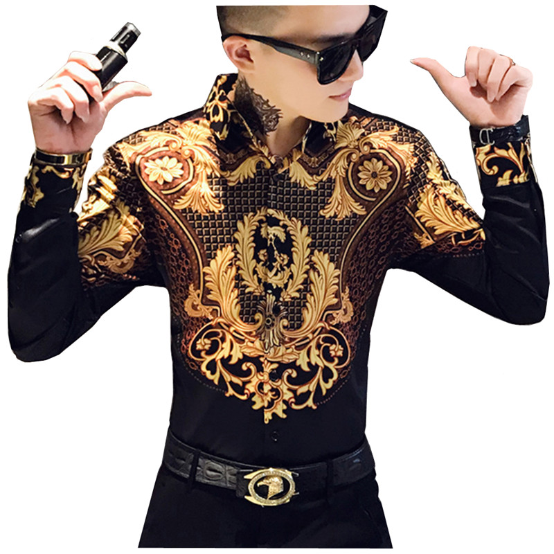 Luxury Gold Print Shirt Mens 2020 Men Long Sleeve Shirts Party NightClub Tuxedo Shirts Casual Slim Fit Streetwear Blouse Homme