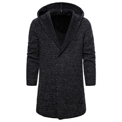Hommes à capuche laine Cardigan hiver chaud solide parfait qualité doux longues vêtements coton tricoté décontracté mâle chandails livraison directe