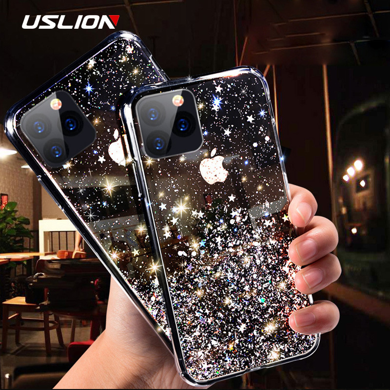 USLION Glitter Transparent Phone Case For IPhone 11 Pro Max X XR Xs Max Bling Powder Soft Silicon Cover For IPhone 6 6s 7 8 Plus