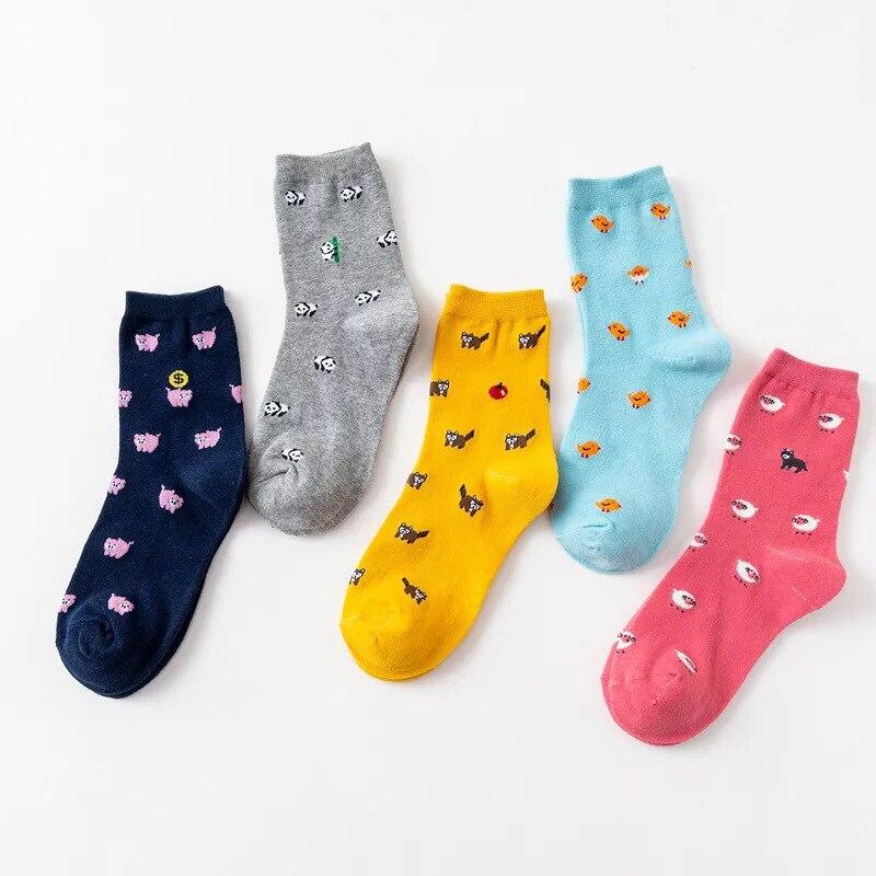 Jeseca Cartoon Cat Print Cute Socks For Women Harajuku Vintage Streetwear Crew Sock 2019 Autumn Winter Warm Japanese Kawaii Sock