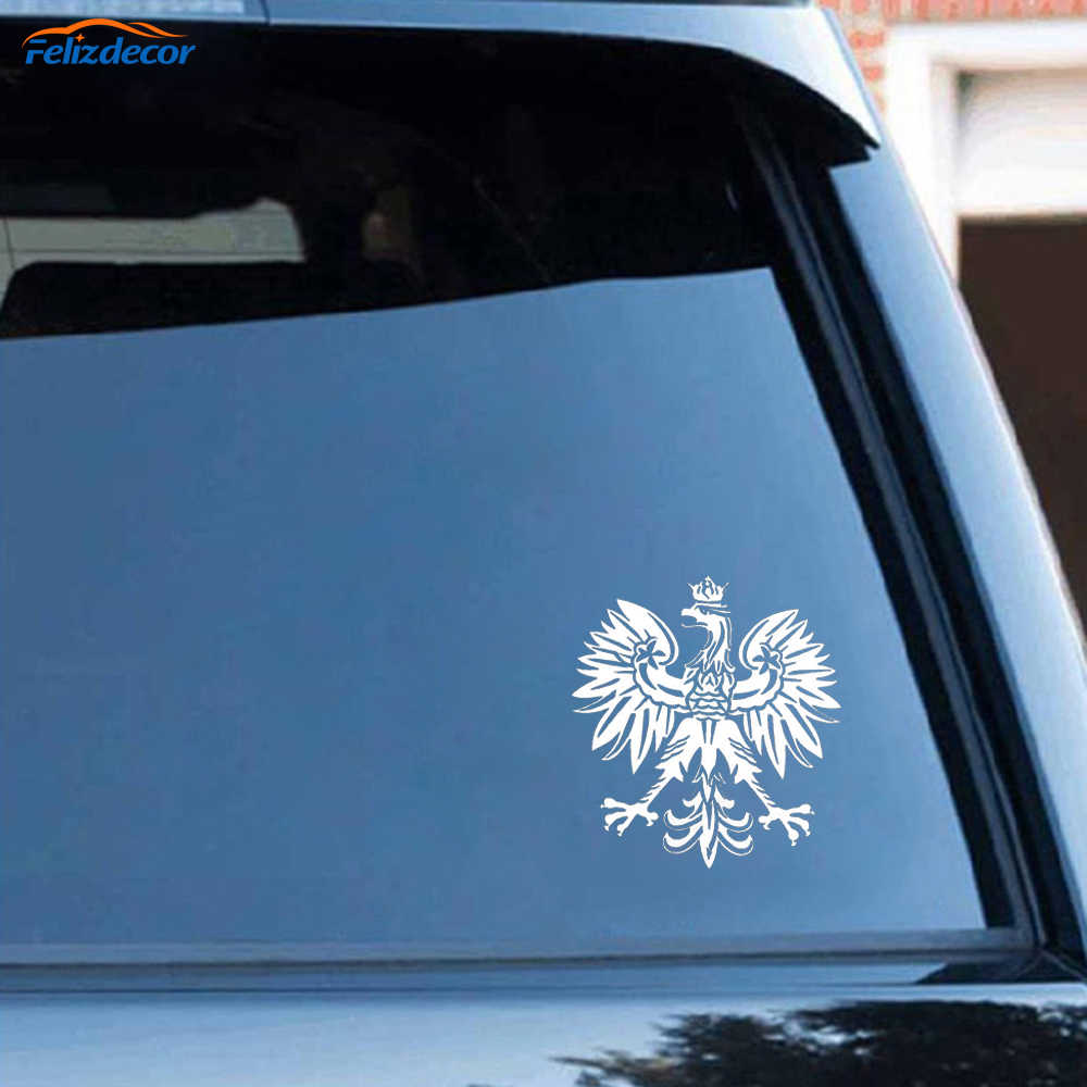 Zwart/Zilver Fashion Eagle Polen Symbool Mode Auto Stickers Dier Patroon Auto Styling Decal C065