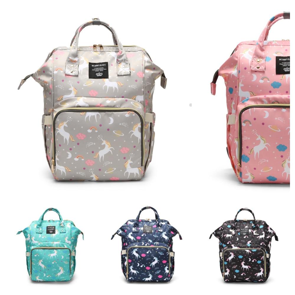 Printed Baby Diaper Bag Waterproof Mommy Handbag Large Capacity Maternity Backpack Baby Care Stroller Bag Nappy Bag Travel