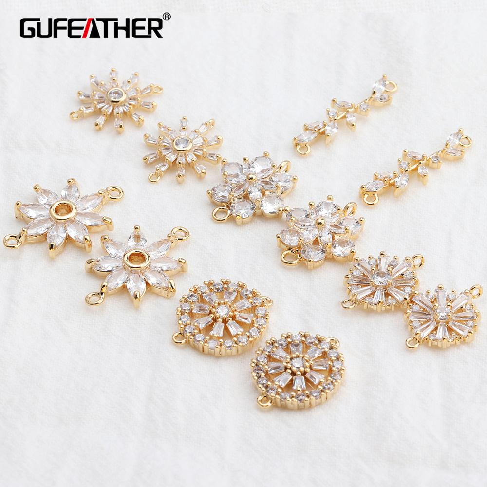 GUFEATHER M540,jewelry Accessories,18k Gold Plated,zircon,hand Made,jewelry Findings,diy Accessories,jewelry Making,10pcs/lot
