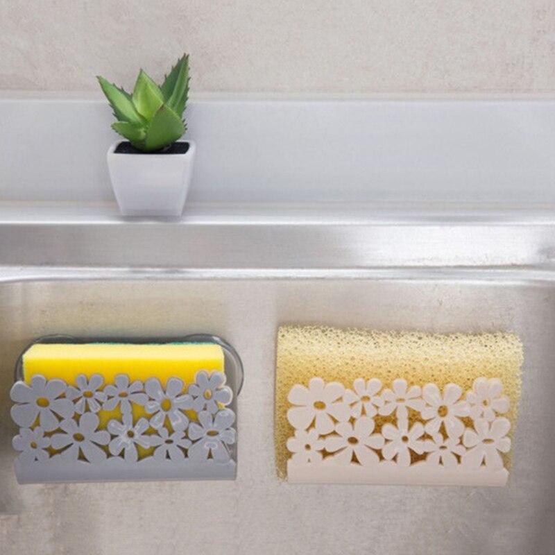 1 Pcs Kitchen Sink Side Shelf Sponge Storage Rack Soap Rack Kitchen Sponge Cup Bathroom Shower Storage Soap Dish Holder Durable