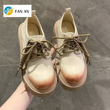 FANAN 2021 Women PU Leather Flats Casual Loafers Fashion Spring Summer Black Khaki Lace Up Platform Oxford Shoes For Women Flats