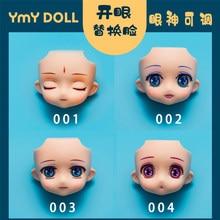 Ymy corpo substituição rosto olhos abertos móveis para gsc argila homem ob11 cabeça divisão gsc boneca rosto 1/12bjd boneca acessórios