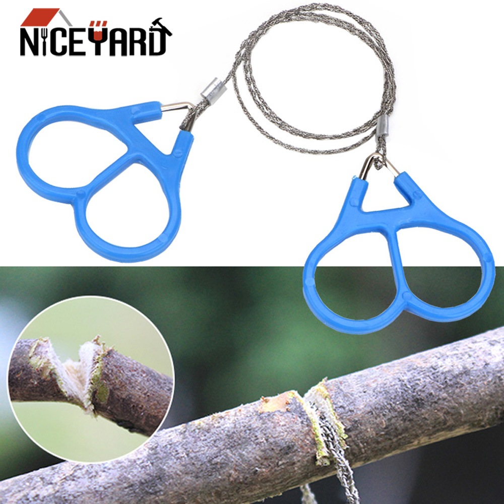 NICEYARD Stainless Steel Emergent Survival Wire Saw Handle for Cutting Fretsaw Outdoor Hunt Fish hand Tool