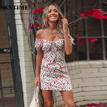 Antime Off Shoulder Women Floral Print Dress Mini Sexy Sheath Short Sleeve Casual Boho Wrap Bodycon Beach Summer Dress(China)