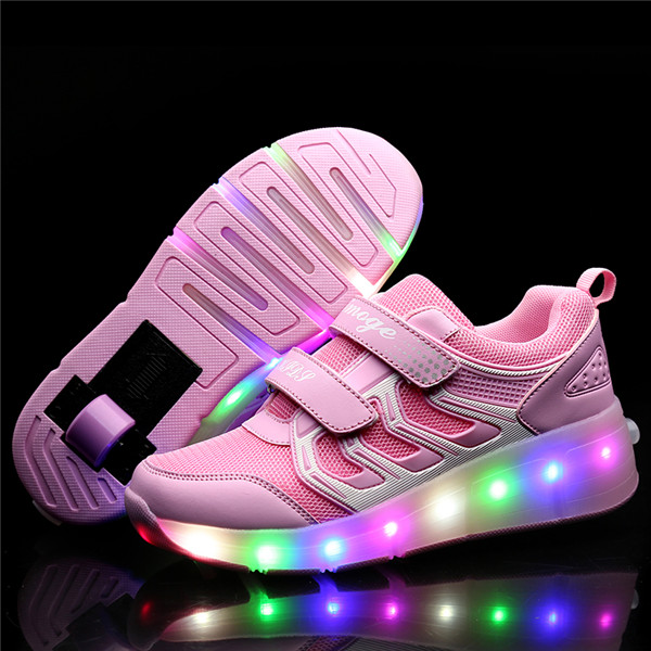Led Wheels Shoes Kids Glowing Sneakers With Light Wheels Roller Skates Shoes Lighted Shoes For Kids Boys Girls Tenis Infantil