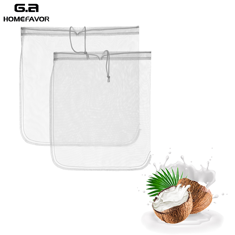 2 PCS 100% Nylon Mesh Sieve Colander Net Strainer Nut Milk Filter Bags Cold Fruit Juice Coffee Tea Reusable Kitchen Stuff