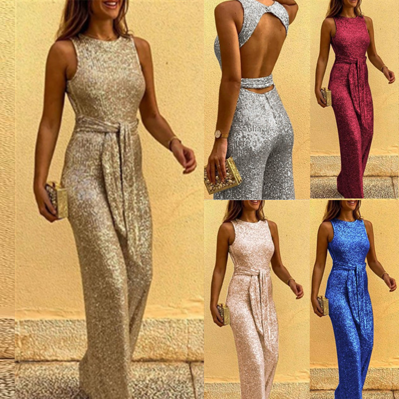 Fashion Sequineds Shiny Long Romper For Women 2020 New Summer Spring Party Vestidos Sexy Backless Sleeveless Wild Leg Jumpsuit