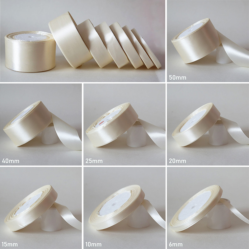 25Yards/ 6mm-50mm Ivory Silk Satin Ribbon DIY Material For Prom Party Decoration Wedding Gift Box Packaging Accessories D7