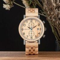Relogio Masculino BOBO BIRD Wood Watch Men Stopwatch Japanese Movement Wristwatch Male saat erkek With Date Gift In Wood Box|Quartz Watches| |  -