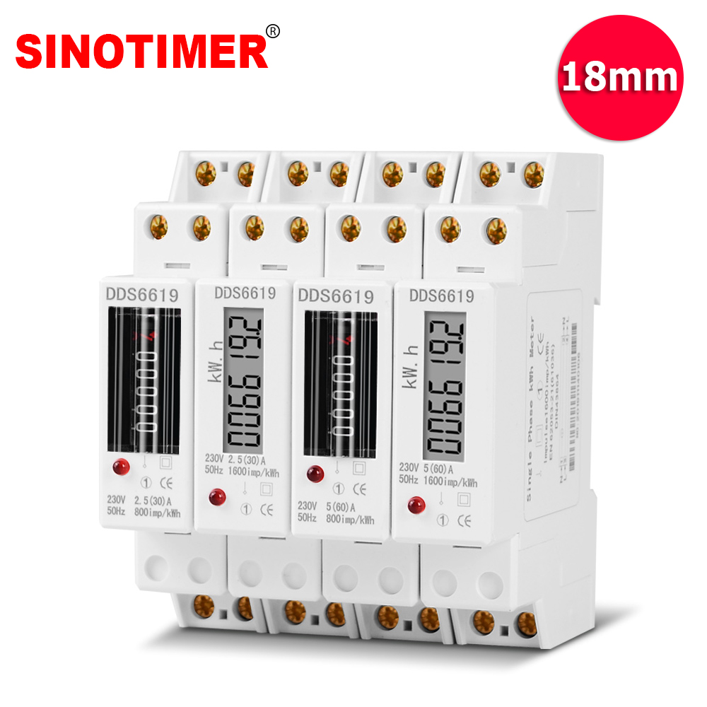 1P 18mm Single Phase 2 Wire Digital Wattmeter Power Consumption Analog Energy Meter KWh AC 230V 50Hz Electric Din Rail Mount