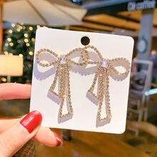 Новые серьги гвоздики ustar с кристаллами и бантом для женских