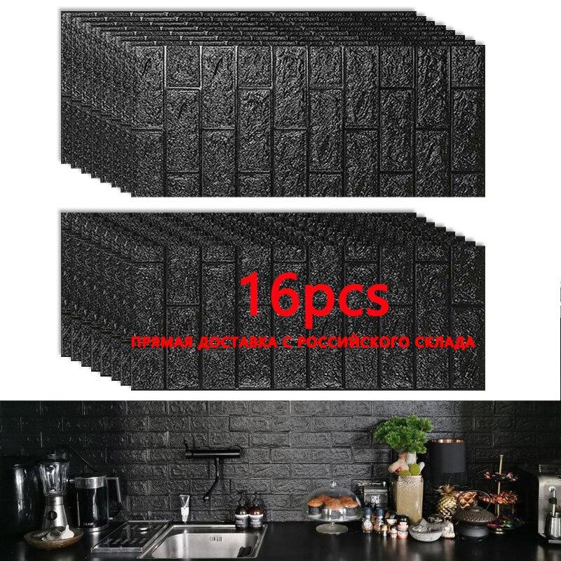 35*77cm16pcs Hot Sale PE Foam 3D Wallpaper DIY Wall Stickers Wall Decor Embossed Brick Stone Wallpaper Room House 70X77cm Poster(China)