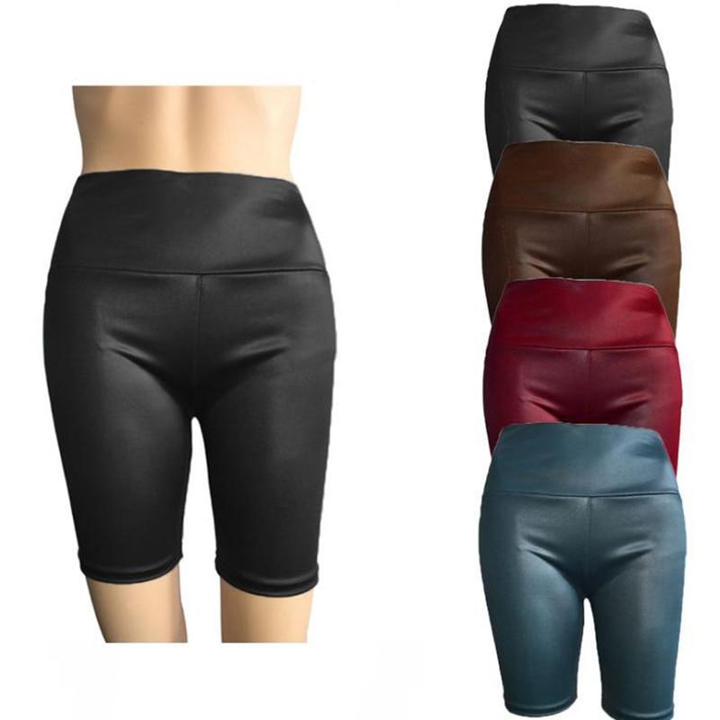 Womens Sexy Shiny Capris Capri Pants Joggers Women Slim Fit High Waist Solid Shorts Bodycon Short Pants HOT