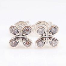 Original 925 Sterling Silver Creative Pure Lucky Four Leaf Grass Earrings Pan Earring Flower Elegant